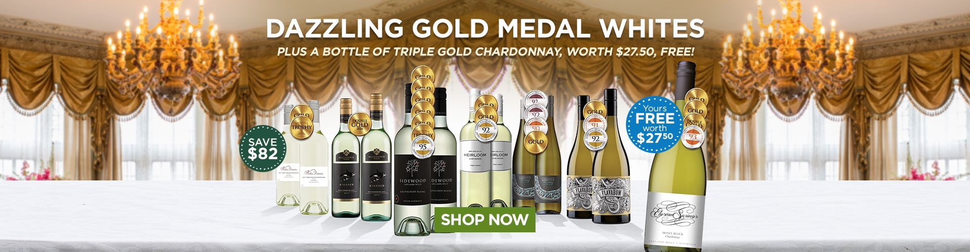 Dazzling Gold-medal Whites plus a bottle of TRIPLE GOLD Chardonnay, worth $27.50, FREE! - Shop Now